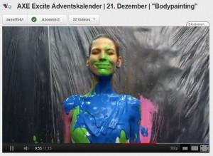 Axe Adventskalender Bodypainting mit Sarah Brandner