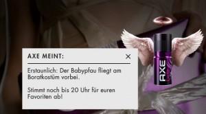 Babypfau fliegt an Boratkostüm vorbei Trendspektor      - Bild © Axe/Unilever Deutschland